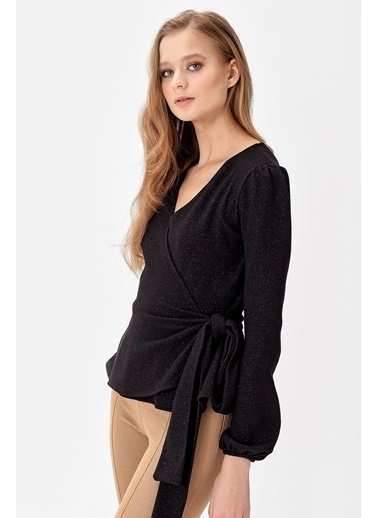 Jument Milano Simli Anvelop Volanlı Bağcıklı Bluz Siyah